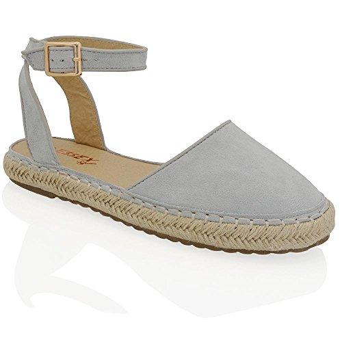 Essex Glam Sintético Zapatos de esparto con plataforma y tiras al tobillo Azul Pastel Gamuza Sintética