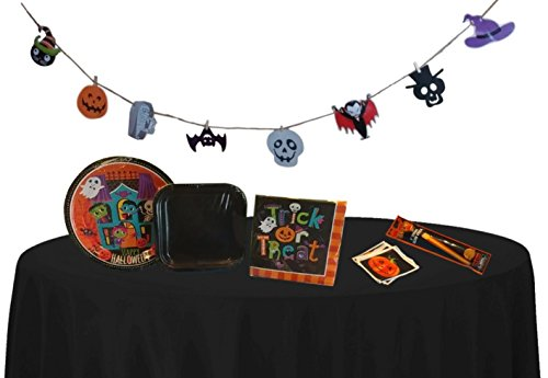 Halloween Decorations Party Supplies – Plates, Napkins, Tablecloth, Party Favors – Halloween Party Pack For 12 (Halloween Party Supply List)