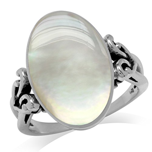 Silvershake Oval Shape White Mother of Pearl Inlay 925 Sterling Silver Victorian Style Heart Knot Ring Size 7