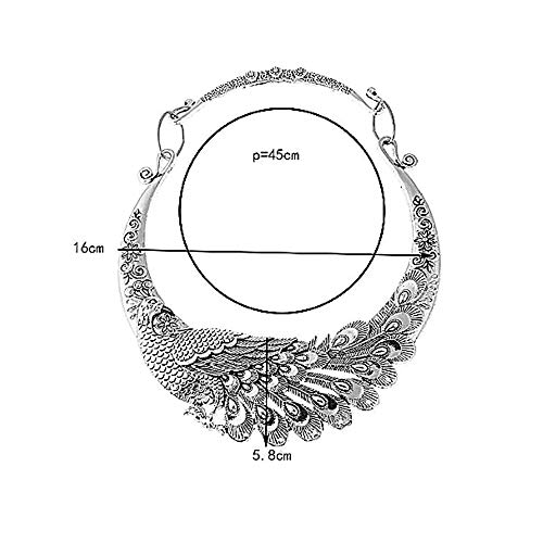 HANG SHANG Fashion Bib Bohemian Statement Show Off, Flaunt, Display, Sport, Peacock Necklace and Earrings Punk Ethnic Style Jewelry Set for Women (Silver Peacock:5)