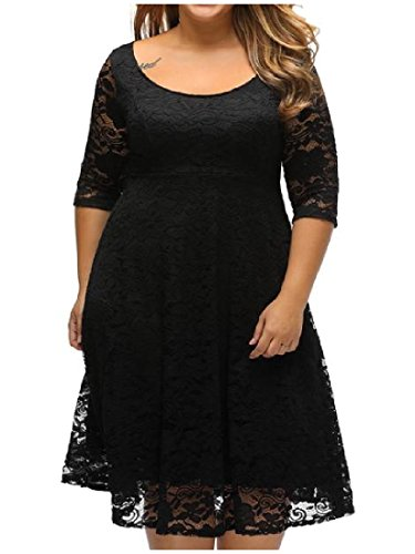Lace 3 Round 4 Sleeve Rise Mini Neck Casual Black Women High Dress Coolred xwtSRqpAOf