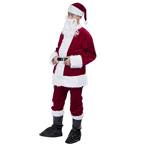 Costumes For People With Beards (Santa Suit Plush Adult Costume Flannel Santa Claus Christmas Costume 6pc)
