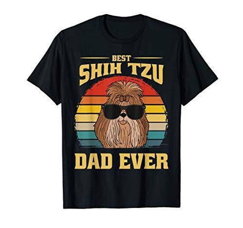 Best Shih Tzu Dog Dad Father Papa Ever Puppy Cute Retro Gift T-Shirt