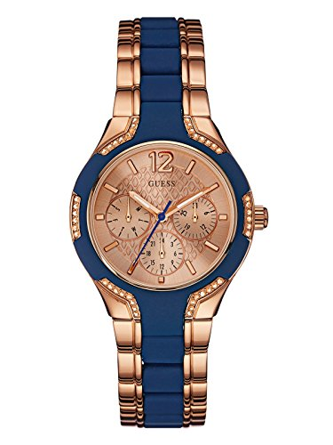 GUESS Factory Women's Rose Gold-Tone and Blue Watch (Guess Watches For Women Blue)