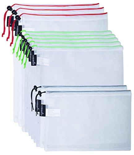 MISSLO Premium Reusable Mesh Produce Bags, Set of 10, Washab