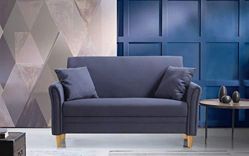 Divano Roma Furniture Modern 2 Tone Small Space Linen Fabric Loveseat (Dark Grey)