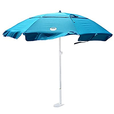 dig-git Beach Umbrella w/Integrated Anchor - Aqua Blue - Heavy Duty 6 1/2 ft. Dia. with vented airflow system 200 HR UV fabric Aluminum/Steel construction corrosion resistant 8 mm Fiber glass frame with Stainless Steel Hardware - shades-parasols, patio-furniture, patio - 41%2BZ8UqxjqL. SS400  -
