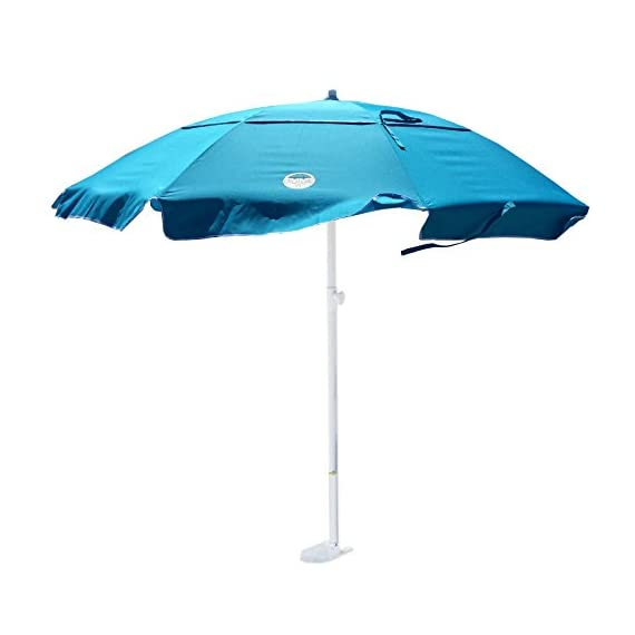dig-git Beach Umbrella w/Integrated Anchor - Aqua Blue - Heavy Duty 6 1/2 ft. Dia. with vented airflow system 200 HR UV fabric Aluminum/Steel construction corrosion resistant 8 mm Fiber glass frame with Stainless Steel Hardware - shades-parasols, patio-furniture, patio - 41%2BZ8UqxjqL. SS570  -