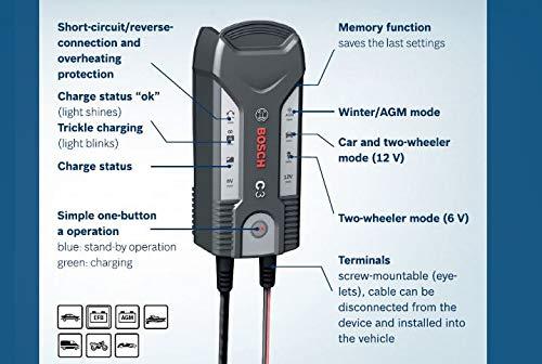 Bosch C3 6/12V Negro Cargador de batería para vehículos C3, 6/12 ...