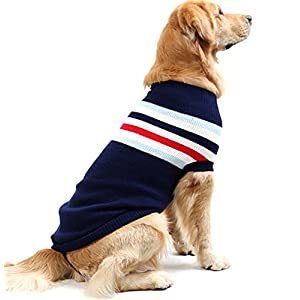 NACOCO Dog Sweater Pet Winter Sweaters Striped Holiday for Large Dog (Blue, XL)