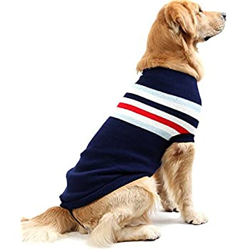 Dog Stripes Classic Sweaters Winter Warmth Dog Sweater for Large Dogs by DELIFUR (XL, BLUE)