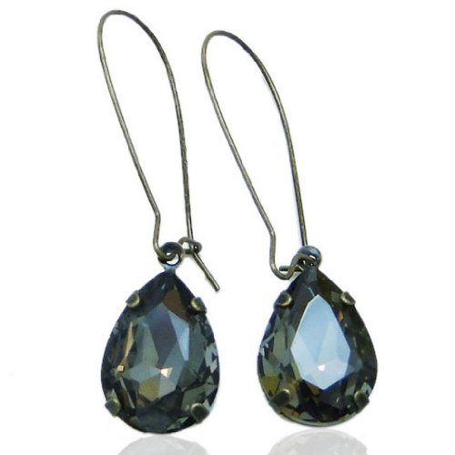 EVER FAITH Austrian Crystal Vintage Style Teardrop Hook Dangle Earrings Black Antique Gold-Tone