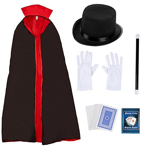 Magician Costume - 5-Piece Magician Hat, Gloves,