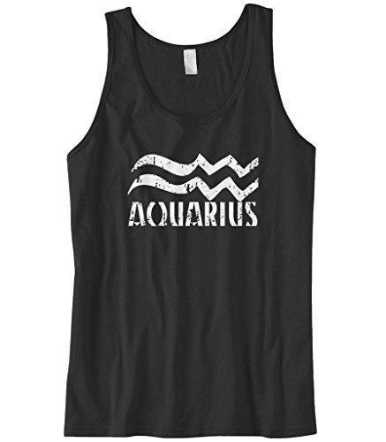 Cybertela Men's Distressed Aquarius Sign Tank Top (Black, 3X-Large) ()