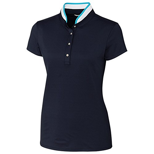 Cutter & Buck Women's Moisture Wicking UPF 50+ Mock Neck Cap Sleeve Polo Shirt, Liberty Navy, XLarge