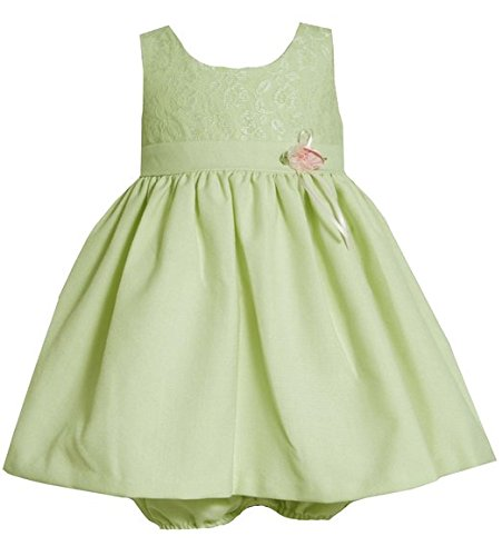 (Baby-Infant 12M-24M Sage-Green Pink Rosette Waist Lace and Linen Dress (24M, Sage))