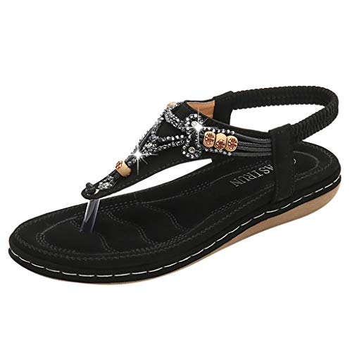 Bohemia Sandals for Women,Summer Casual Flat T-Strap Flip Flop Sparkling Rhinestone Thong Beach Shoes (US:5, Black)