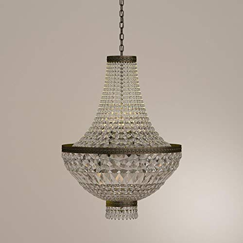 Worldwide Lighting W83088B20 Metropolitan 8 Light Medium Chandelier, Antique Bronze Finish and Clear Crystal, 20