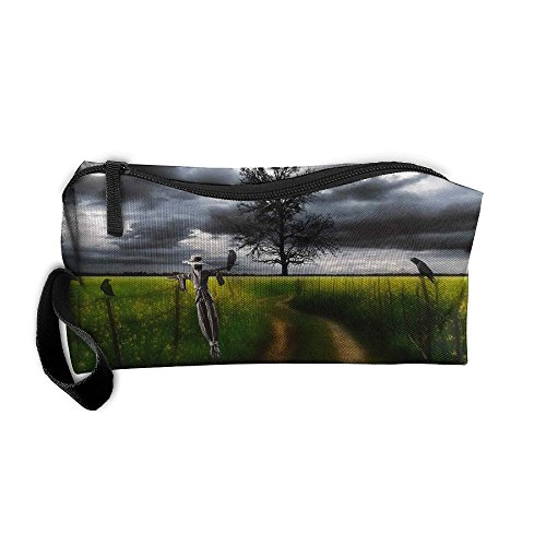 Kla Ju Portable Pen Bag Purse Pouch Scarecrow Scenery Stationery Storage Organizer Cosmetic -