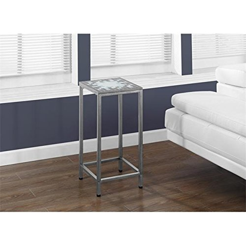 (Monarch Specialties Grey and Blue Tile Top Hammered Silver 28 H Inch Plant Stand /RM#G4H4E54 E4R46T32592978)