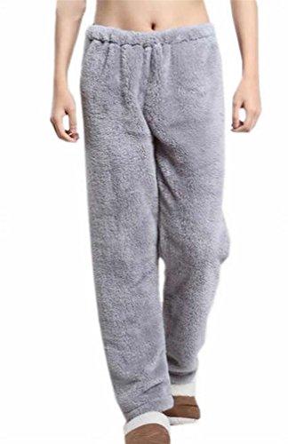 Cromoncent Men and Women Flannel Homewear Elastic Waist Sleepwear Lounge Pajama Pants Gray M (Fuzzy Sweatpants Men)