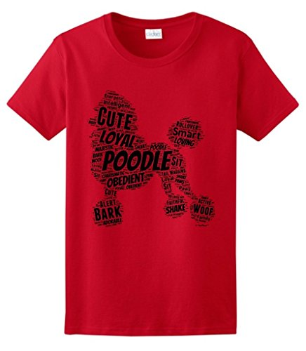 Dog Clothes Poodle Word Art Dog Puppy Owner Gift Ladies T-Shirt Small Red