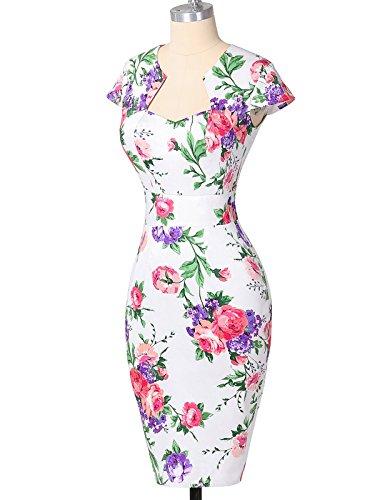Rtro 7 Genoux Florale Robe au Vintage Floral des Crayon Mancherons GRACE Dessous KARIN xOt7BB