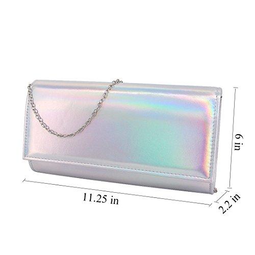 Silver Shiny Purse Cellphone Gabrine Wristlet Evening Shoulder Laser Clutch Handbag Bag Case Wallet Crossbody Womens 166wAZ5pqH