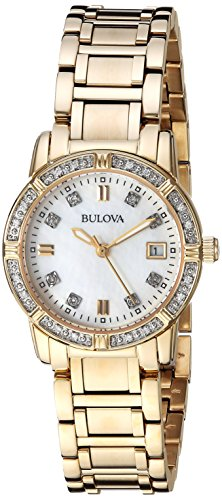 Bulova Women's Quartz Watch with Stainless-Steel Strap, Gold, 13.75 (Model: 98R135)