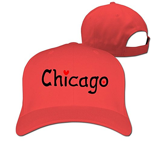 Love Chicago Unisex Two-toned Baseball Hat & Cap Red