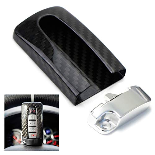 iJDMTOY (1) Real Carbon Fiber GTR Style Key Fob Protective Cover Case w/Silver Base For Nissan or Infiniti Oval Shape Keyless Entry ()