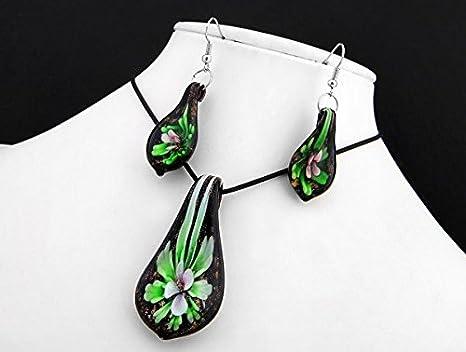 Ecloud Shop® En Forma de Hoja de la Manera de Cristal de Murano Colgante Collar de la Flor Hermosas Joyas aretes