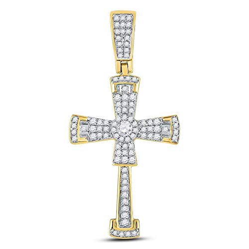 (Dazzlingrock Collection 10kt Yellow Gold Mens Round Diamond Flared Cross Crucifix Charm Pendant 1/2 Cttw)