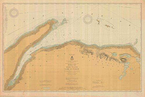 Map - Huron Bay And Huron Islands Lake Superior, 1915 Nautical NOAA Chart - Michigan (MI) - Vintage Wall Art - 66in x 44in (Superior Lake Depth Chart)