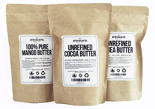 (Shea, Cocoa, Mango Butters Set by Better Shea Butter - each butter is 8 oz)