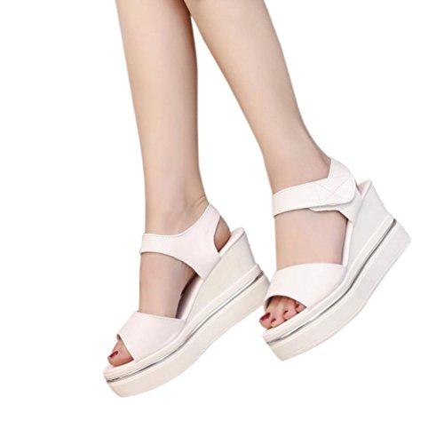 Vovotrade Tacón alto 8cm hebilla Correa Mujer Plataforma Tacones Altos Cuñas Recortes Sandalias Abiertas Toe Zapatos Impermeable Beige