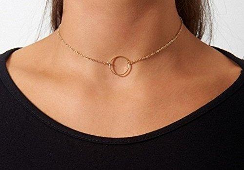 Gold Circle Choker Necklace HIGH QUALITY 14k Gold Filled Dainty Circle (14k Gold Circle Necklace)