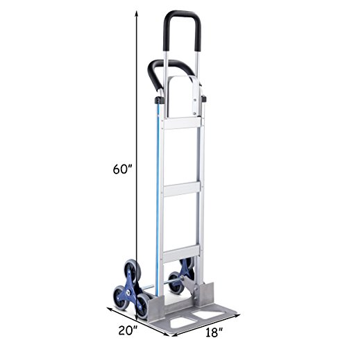 Goplus Stair Climbing Cart Heavy Duty Aluminum Climber Dolly w/6 Wheels Portable Hand Truck by Goplus (Image #4)