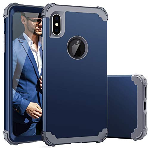Fingic Phone Case Compatible with iPhone Xs Max,iPhone Xs Max Case for Men,Heavy Duty Slim Shockproof Drop Protection 3 in 1 Hybrid Hard PC Covers Soft Bumper Protective Case for iPhone Xs Max,Blue