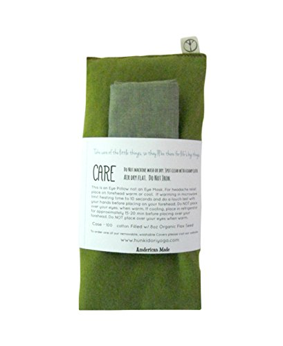 Relaxing Eye Pillow - Unscented Eye Pillow with Cover - Gift Set - 4 x 8.5 - Organic Flax Seed - Soft Cotton Flannel - Washable - Soothing Relaxing - kiwi green