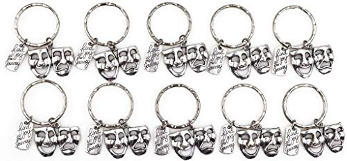 It's All About...You! 10pc Set: Find Joy in The Journey Comedy Tragedy Mask Theatre Actor Actress Inspirational Broadway Musical Drama Teacher Gift Keychain 112X