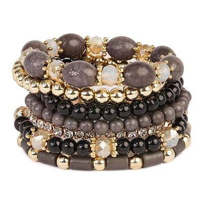 Gabcus Banny Pink Bohemia Geo Beads Elastic Bracelet for Women Chnuky 7 Pieces/Set Strands Bracelets Fashion Jewelry Pulseras Bijoux - (Metal Color: Black)