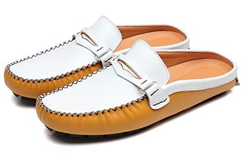 Ciabatte Da Uomo Ciabatte Da Mocassino Sandali Clog In Pelle Classica Per Il Tempo Libero Casual Slip On Shoes Di Santimon Giallo