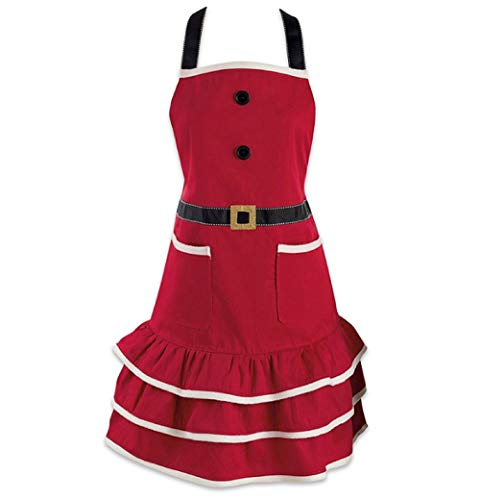 Santa Apron - DMtse Santa Christmas Kitchen Apron with Pocket and Extra Long Ties, 31 x 25.5 inch Cute Women Cotton Ruffle Apron for Christmas Mrs. Claus