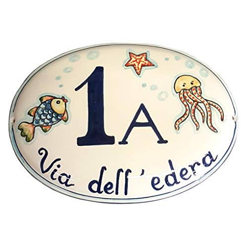 CERAMICHE D'ARTE PARRINI - Italian Ceramic Art Pottery Tile Custom House Number Civic Address Plaques Oval Hand Painted Made in ITALY Tuscan
