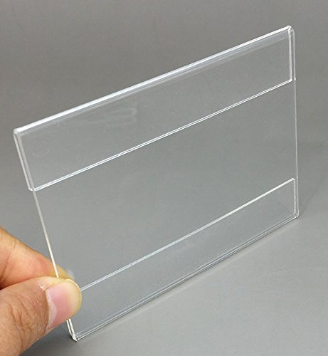 Wall Mount Acrylic Sign Holder ,Price Card Tag Label Counter Top Stand with 3M Adhesive Tape ,20pcs/lot (Paper size 120x80mm) (Label Price Holder)