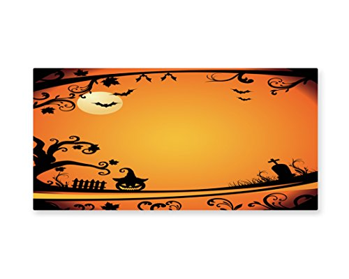 Lunarable Vintage Halloween Wall Art, Halloween Themed Image Eerie Atmosphere Gravestone Evil Pumpkin Moon, Gloss Aluminium Modern Metal Artwork for Wall Decor, 23.5 W X 11.6 L Inches, Orange (Quick And Inexpensive Halloween Costume Ideas)