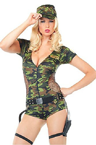 Women's Sexy Soldier Army Costume Camo Size Medium Halloween Party Stopper Go commando Playsuit