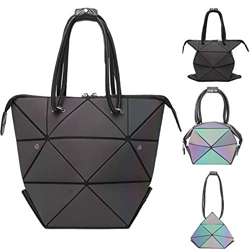 - Geometric Bag Changeable Shape Top Handle Handbag for Women Luminous Large Shoulder Bag Satchel Holographic Bag