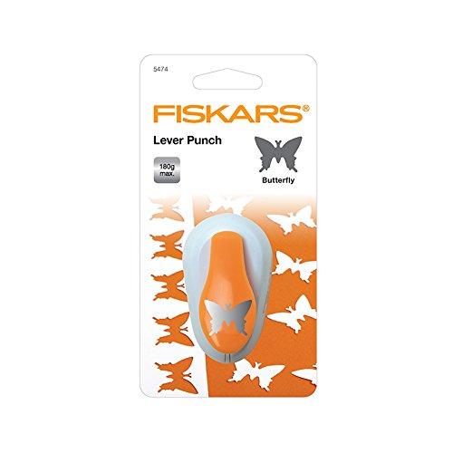 Fiskars Perforatrice à levier, Papillon, Ø 2,5 cm, Convient aux droitiers et aux gauchers, Acier de qualité/Plastique, Blanc/Orange, Perforatrice à levier, M, 1004648
